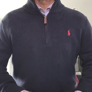 Polo zip front pullover sweater